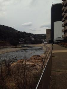 武庫川沿いからザ・パークハウス宝塚を撮影