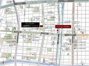 プレミストタワー大阪新町ローレルコート周辺地図(引用:公式HP)