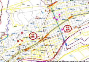神戸市中央区のハザードマップ(元データ:兵庫県警察)