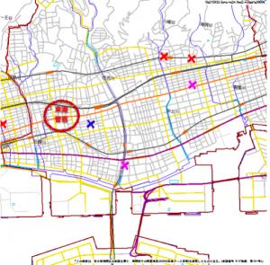 神戸市東灘区のハザードマップ(元データ:兵庫県警察)