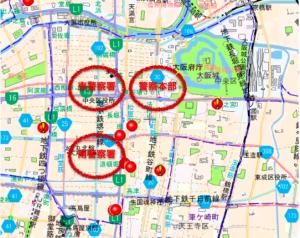 大阪市北区のハザードマップ(元データ:大阪府警察犯罪発生マップ)