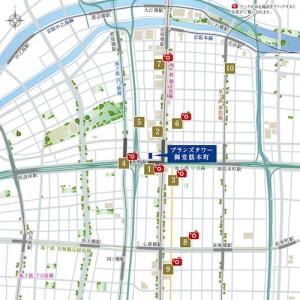「ブランズタワー御堂筋本町」周辺地図(引用:公式HP)