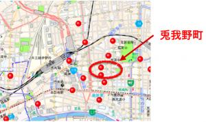 兎我野町のハザードマップ(本サイトにて文字入れ・元データ大阪府警察犯罪発生マップ)