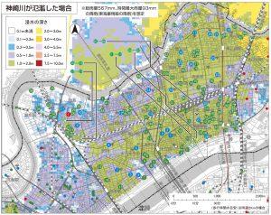 神崎川が氾濫した場合(引用:水害ハザードマップ(淀川区))
