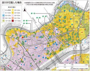 淀川が氾濫した場合(引用:水害ハザードマップ(淀川区))