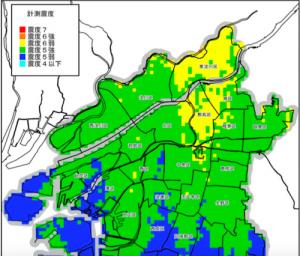 有馬高槻構造線_震度分布予測図(引用:大阪市災害想定)