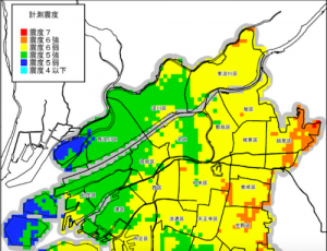 生駒断層_震度分布予測図(引用:大阪市災害想定)