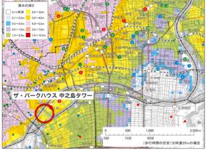 淀川が氾濫した場合(引用:大阪市ハザードマップ)