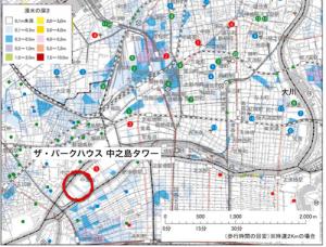 内水氾濫の場合(引用:大阪市ハザードマップ*)