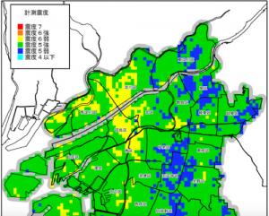 南海トラフ(東南海・南海地震)震度分布予測図(引用:大阪市災害想定)