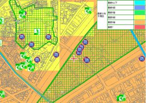 震度分布予測図(引用:大阪市HP「マップナビおおさか」)