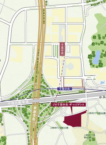 「ジオ千里中央 ザ・レジデンス」周辺地図(引用:公式HP)