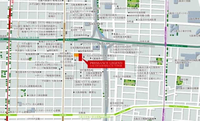 プレサンス レジェンド 堺筋本町タワー 周辺地図(引用:公式HP)