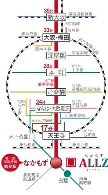 なかもず駅から主要駅までの時間(引用:公式HP)