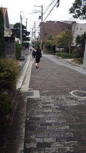 細い道だが、歩いている人は多い